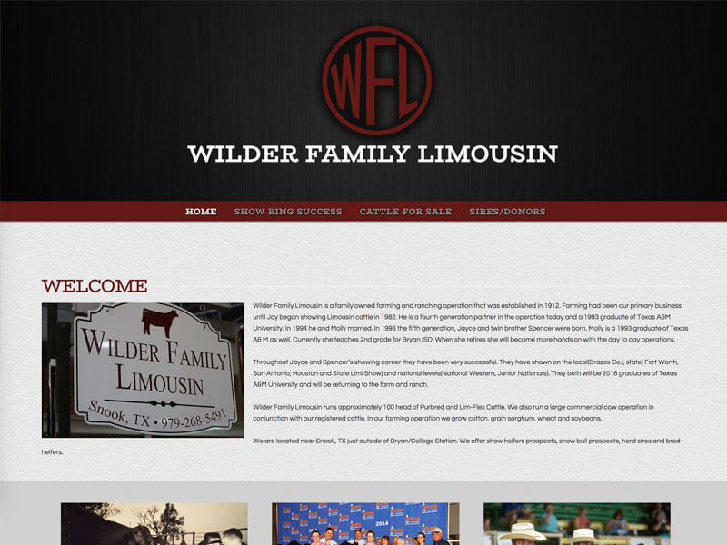 Limousin Cattle Web Design - Ranch House Designs - Wilder Family Limousin