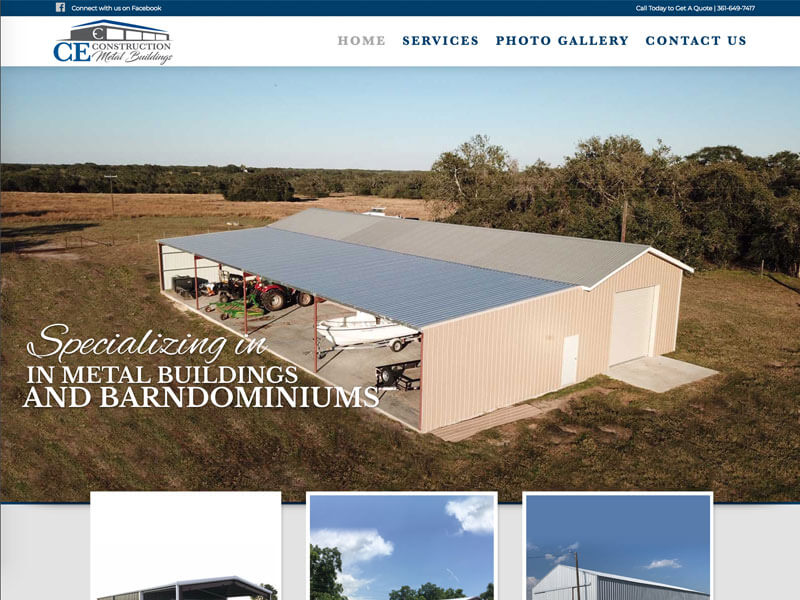 Construction Web Design - Ranch House Designs - CE Construction and Metal Buildings