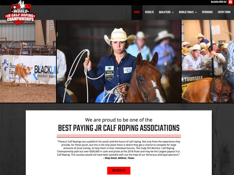 Rodeo Web Design - Ranch House Designs - Jr. Calf Roping Championship