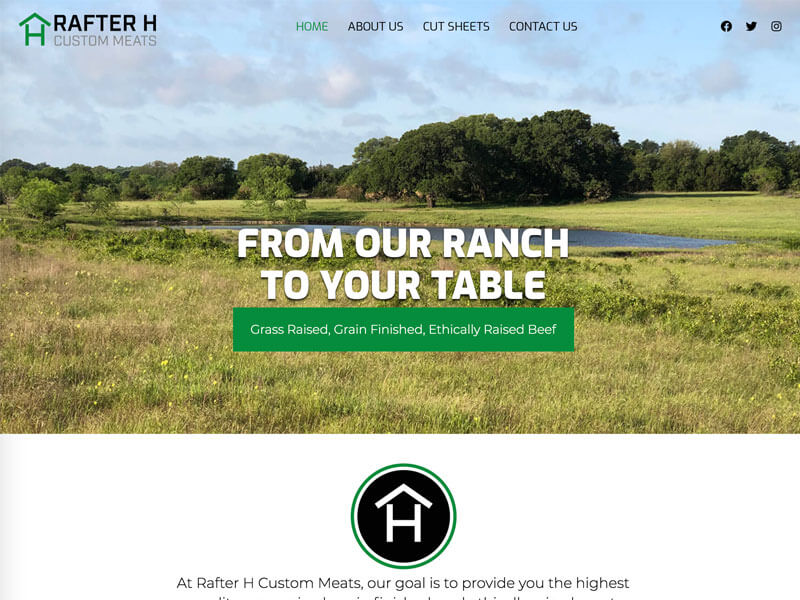 Rafter H Custom Meats Web Design - Ranch House Designs, Inc.
