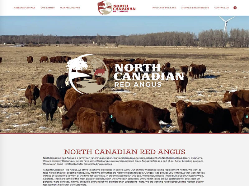 North Canadian Red Angus Web Design - Ranch House Designs, Inc.